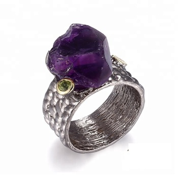 Handmade Big Amethyst Rough Stone 925 Sterling Silver Ring