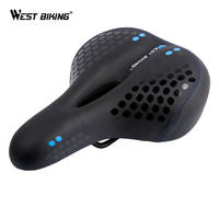WEST BIKING Bicycle Saddle with Tail Light Thicken Widen MTB Soft Comfortable Cycling Hollow Hot Selling Heated Bike Saddles