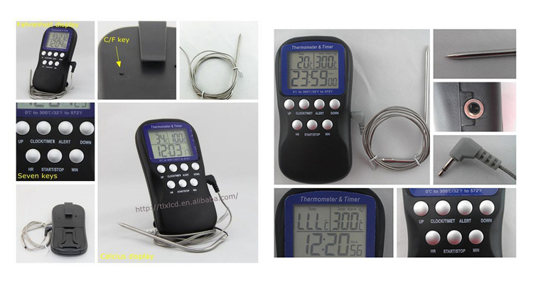 Digital Food Cooking Kitchen Thermometer with Alarm and Timer Function for Candy, Meat, BBQ, Grill, Oven, Smoker
