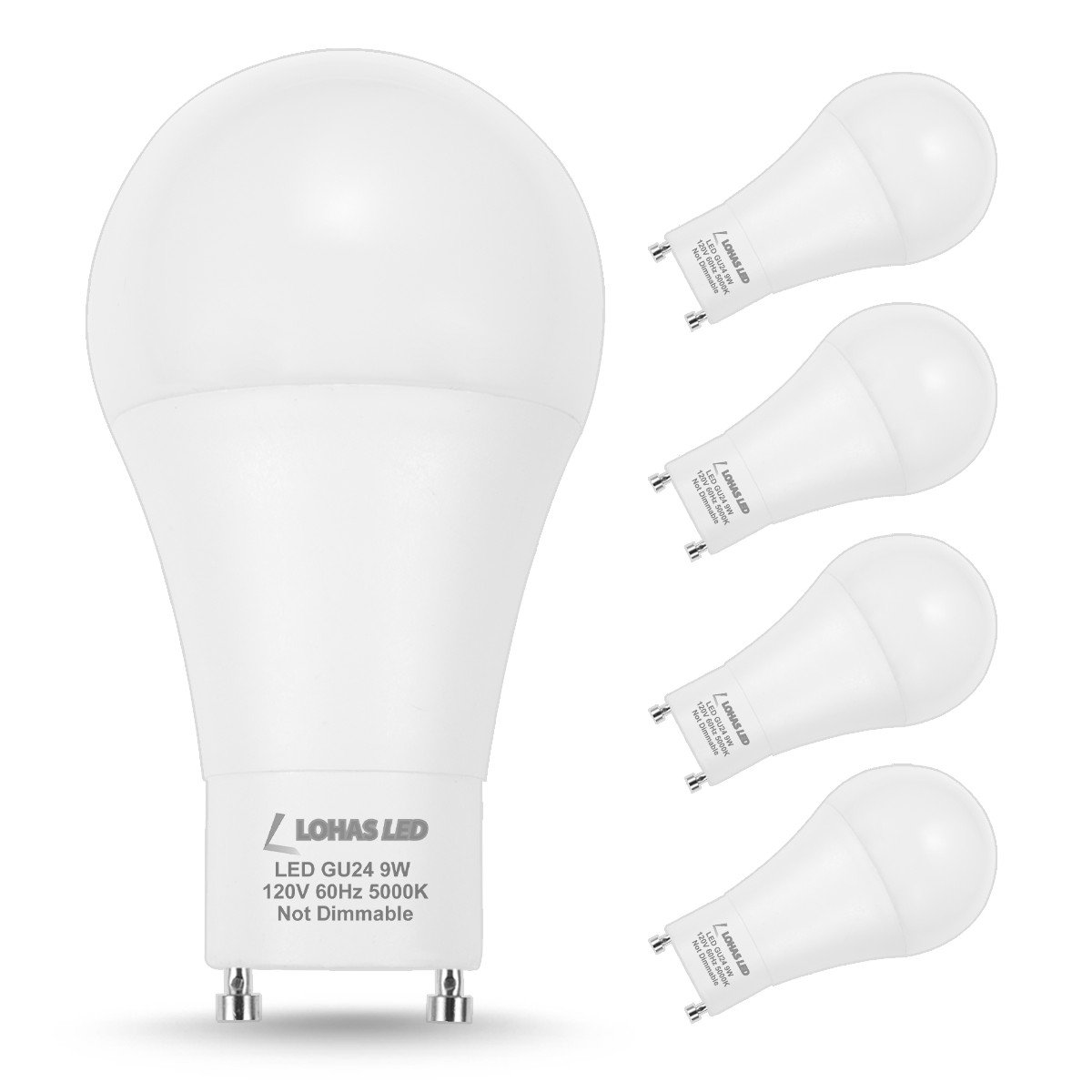 LOHAS GU24 Bulb, A19 LED Bulb 60w Equivalent, 9W LED 5000k Daylight Bulbs, Non-Dimmable Lights for Home, 240 Degree Beam Angle, 810LM LED Lamp Replacing CFL Ceiling light, LED Light Bulbs (4Pack)