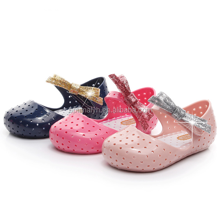 China wholesale melissa kids shoes sparkle glittle bow fancy princess jelly shoes