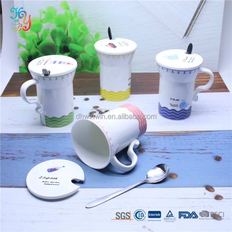 Wholesale custom printed coffee cups mugs ceramic with lid and spoon