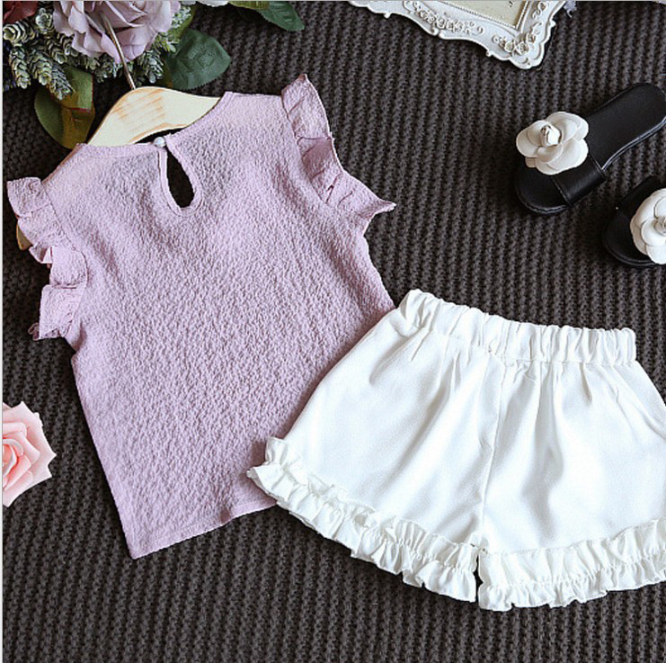 Girls Clothing Sets Summer Children Clothing Wear Pearl Chiffon T-Shirts + Shorts Sets Kids Clothes For Girl