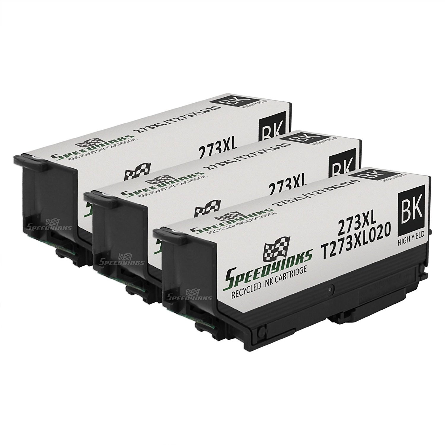 Speedy Inks - 3pk Remanufactured High Yield Black Ink for Epson T273XL 273XL T273XL020 for use in for use in Epson Expression XP-600 Small-in-One, XP-800 Small-in-One, Premium XP-610 Small-in-One, Premium XP-810 Small-in-One, Premium XP-520 Small-in-One, Premium XP-620 Small-in-One, Premium XP-820