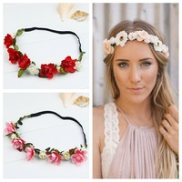 Boho Bride Bohemian Flower Headband Festival Party Wedding Floral Garland Headband Flower Crown,Bridal Flower Headband