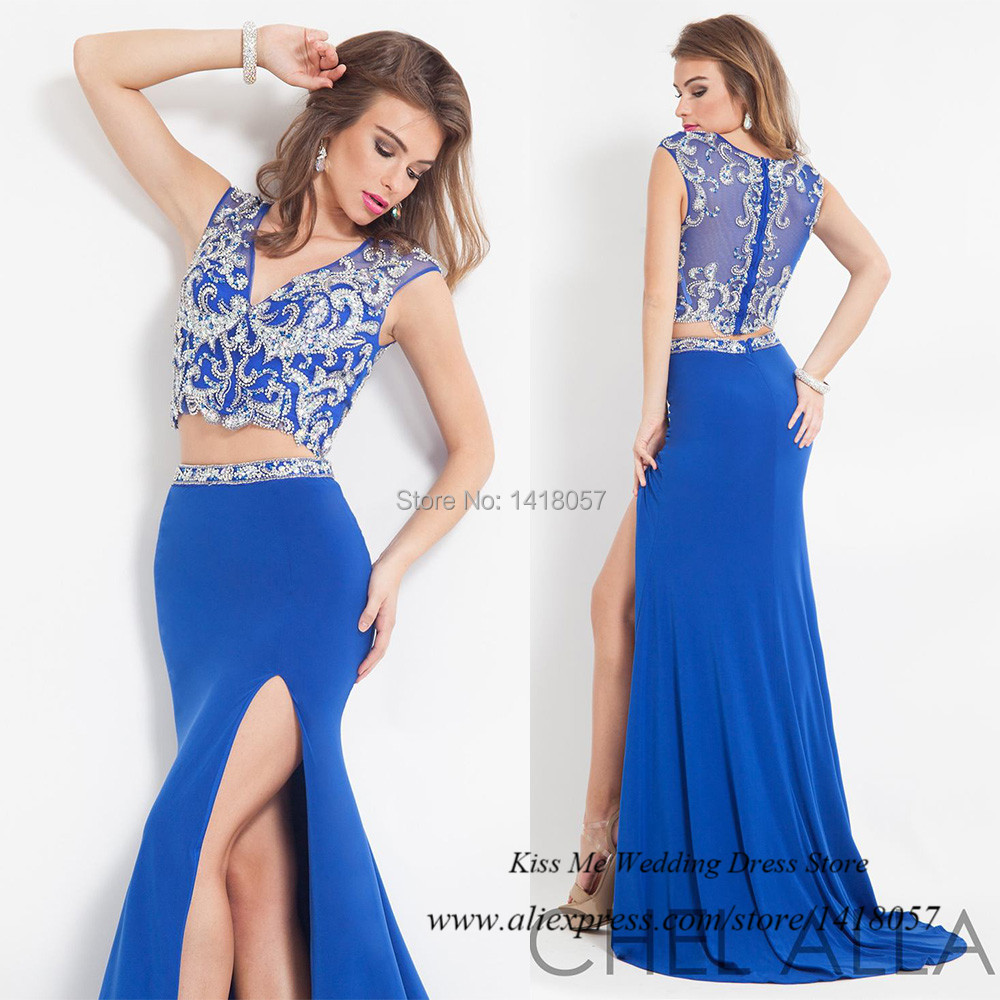 450e40d32218 Get Quotations · Royal Blue Two Piece Prom Dresses Crystals Chiffon Long Mermaid  Formal Evening Gowns Vestido de Formatura