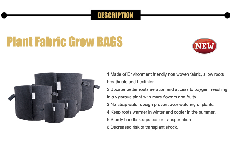 Eco friendly Garden hydroponic black 1 2 3 5 7 10 15 20 25 30 gallon felt potato planting grow bags pots fabric with handles