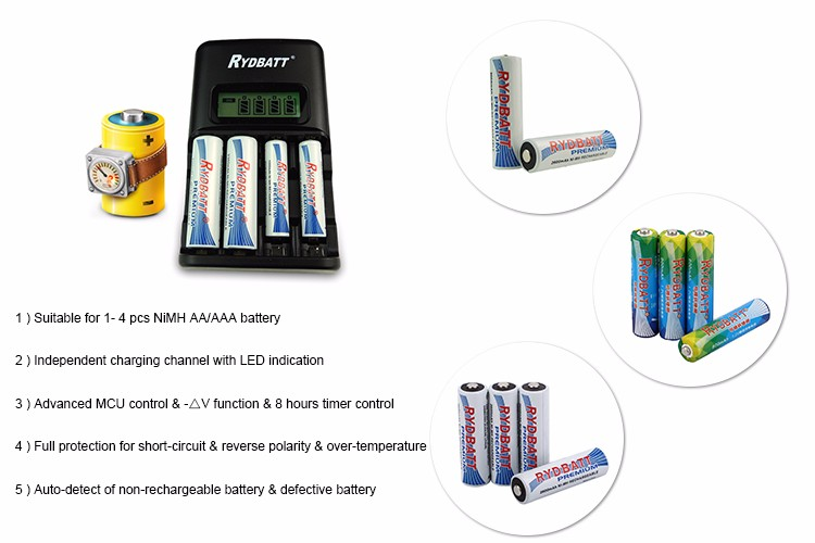 Hot selling high quality outdoor portable 4 Slot LCD Smart Charger for AA/AAA battery