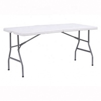 Wholesale cheap rental hotel restaurant dining catering white HDPE 6ft round retangular plastic folding table for wedding