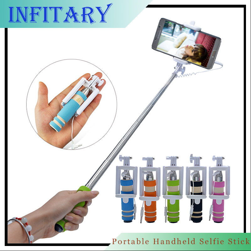 New Mini Portable Extendable Mobile Phone Handheld Selfie Stick Extendable Tripod for iPhone SamsungGalaxy Folded Camera