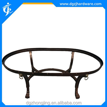 Antique Lion Head Tiger Claw Oval Shaped Coffee Table