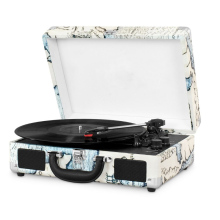 Portable Vintage 3-Speed Bluetooth Suitcase Turntable vinyl record player with headphone aux jack