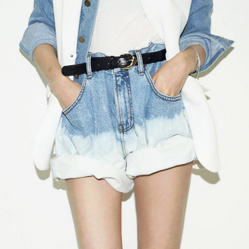 48b122268 Get Quotations · New 2015 Summer Women Gradient Vintage Curling Denim Shorts  Harajuku High Waist Boyfriend Street Loose Casual