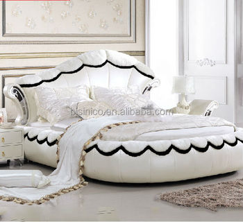 Bisini Modern White Oval Genuine Leather Bed Double