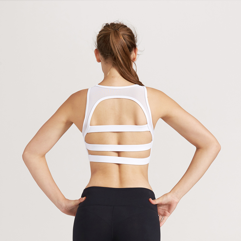 Wholesale big open back white sexy lace sports bra manufacture