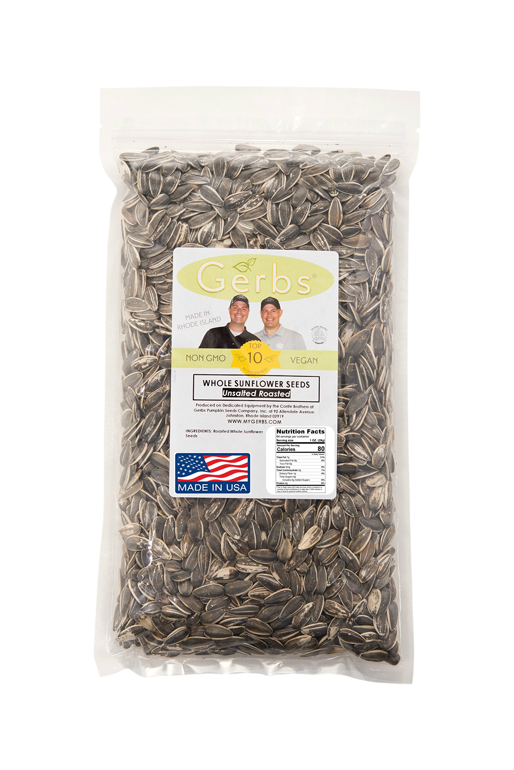 Unsalted Whole Sunflower Seeds by Gerbs – 4 LBS - Top 12 Food Allergy Free & NON GMO - Vegan & Kosher - In-Shell Dry Roasted Seeds Grown in USA