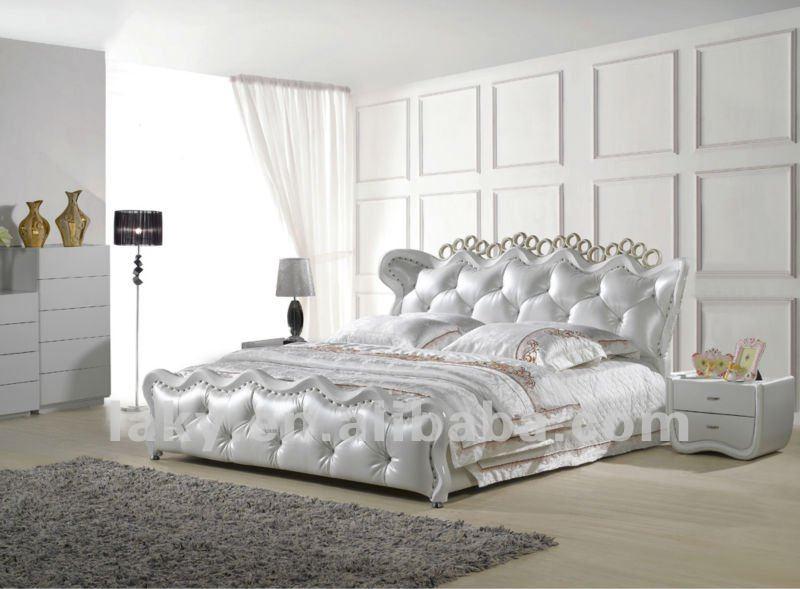 Blanco de lujo del diamante de cuero cama camas for Diamond bed frame