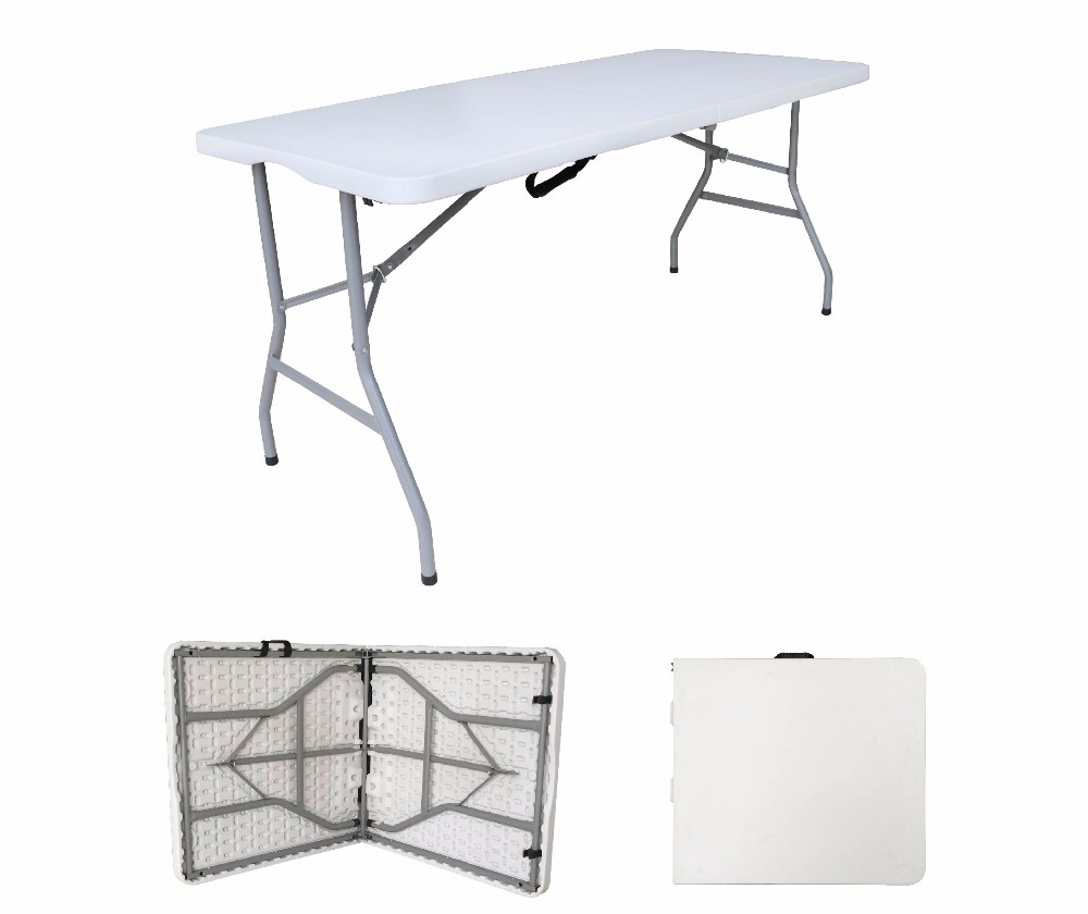 Low Price Best Quality White Metal Frame 152CM Foldable HDPE Plastic Table