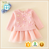 Pink Long Sleeves Dresses For Age 2 Girls Mini Dress Cotton Lined Dresses In Stock