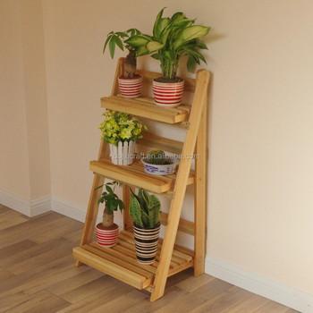 Escalera plegable de madera maceta planta soporte de - Pedestal para plantas ...
