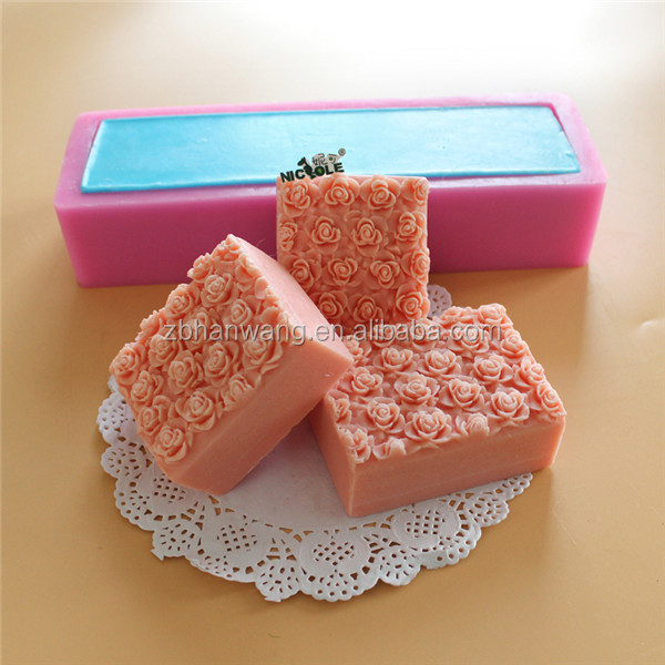 Square Flower Design Silicone Soap Mold Roses Bed Silicon Mould For Soap