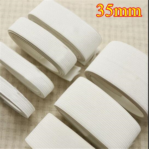 Higher Quality White Rubber Elastic Braid Band Tape 35mm knitted elastic fastener