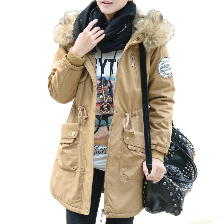 Fashion Women Thicken Warm Parka Top Faux Raccoon Fur Collar Hooded Winter Coat Solid Color Belt Long Casual Outerwear WF-5260