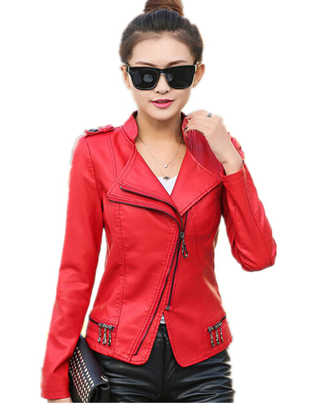 5XL Plus Size Rivet motorcycle leather jacket women leather clothing short slim jackets leather spring and autumn leather coat