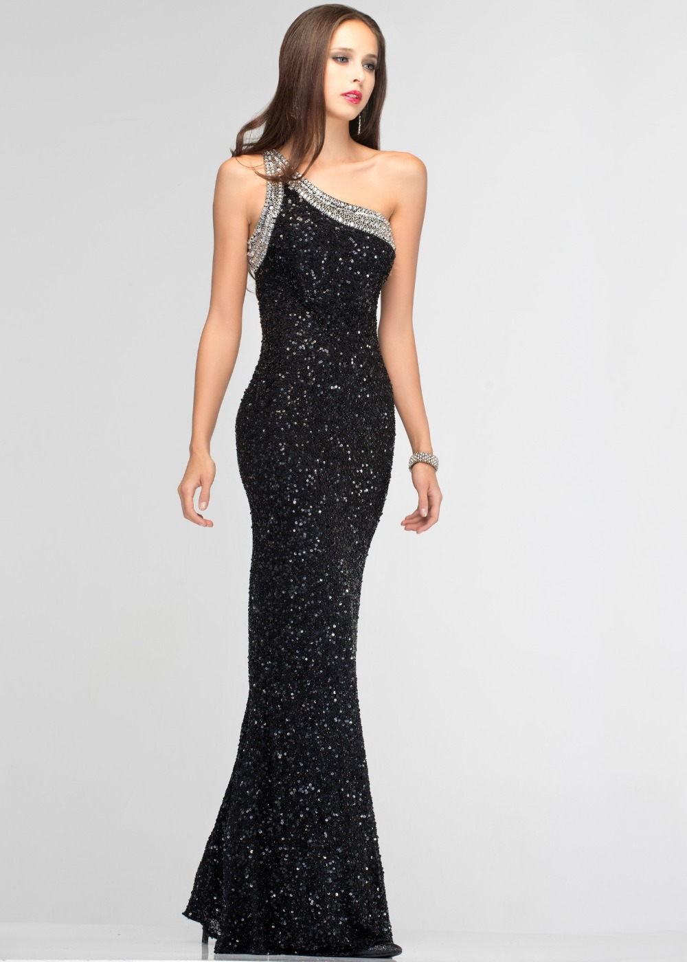prom sequin Black dress long