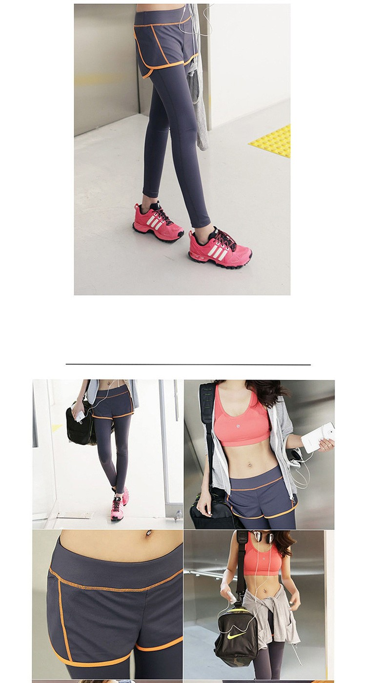 Korean Girls False Two Pieces Yoga Sport Pants Quick Dry Women Fitness Running Leggings