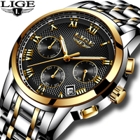 2018 LIGE Waterproof Casual Sport Watch Men Quartz Top Brand Luxury With stainless steel Watches