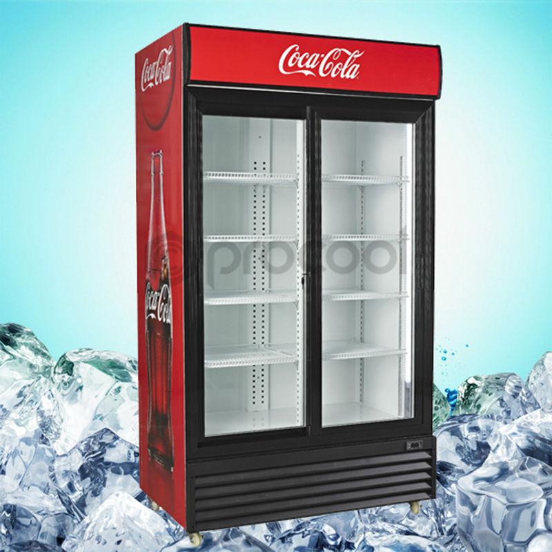 Promotional 1200l Double Door Coke Refrigerator Commercial Cooler For Beverage