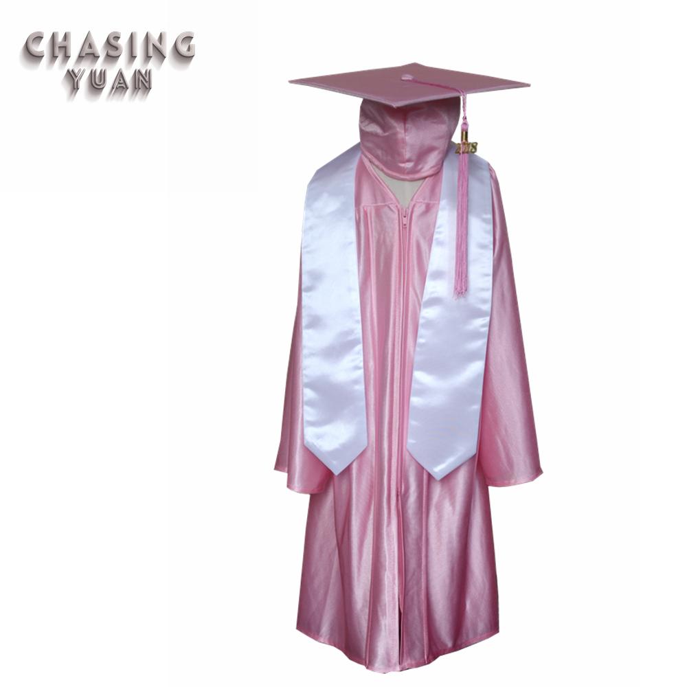 Wholesale Kids Shiny Pink Graduation Cap Gown Stole Costume - Buy ...