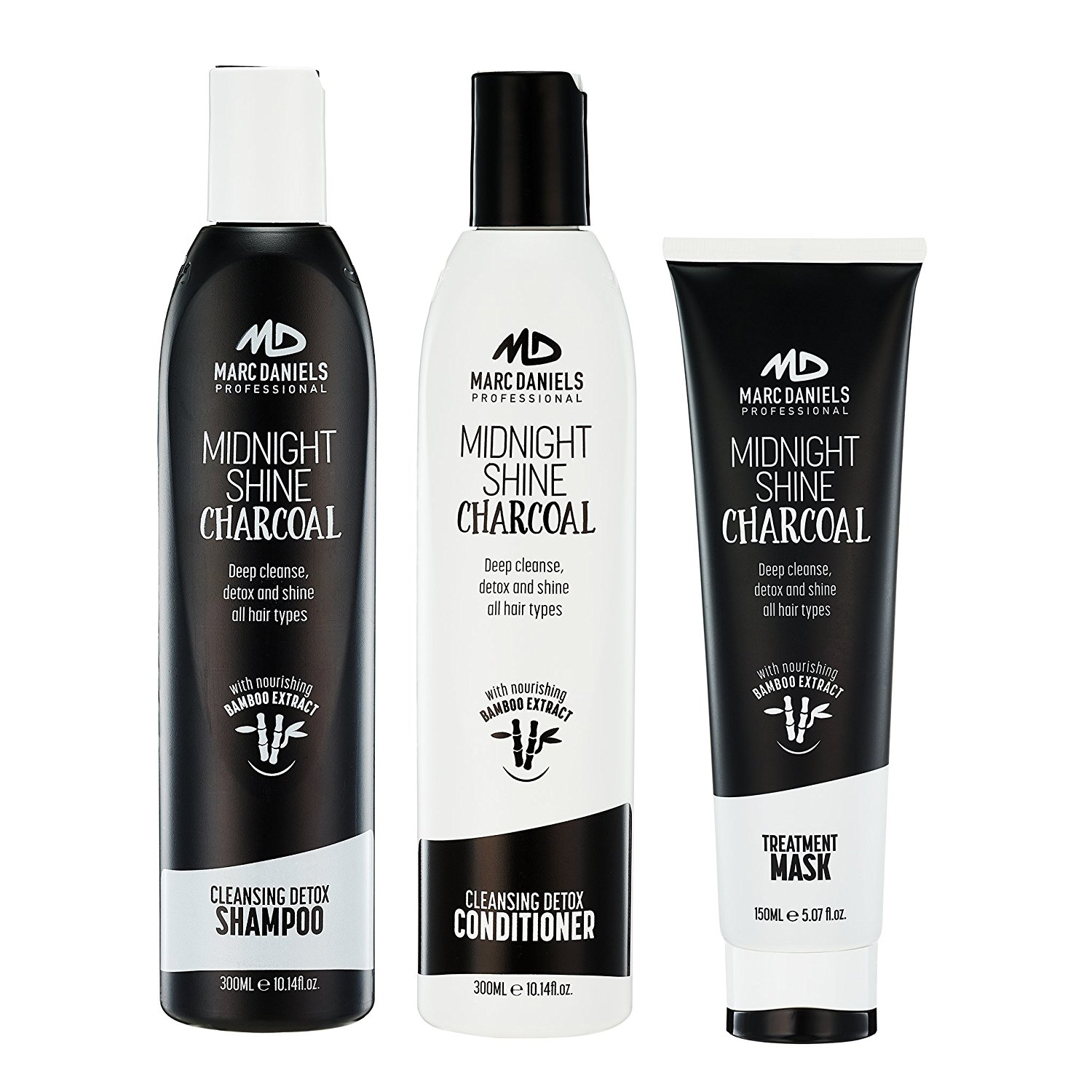 Activated Charcoal Clarifying Shampoo & Conditioner Set with Hair Mask Treatment. Sulfate Free, Deep Cleanse, Detox & Shine Restore for Color Treated, Oil, Damaged, Dry Hair