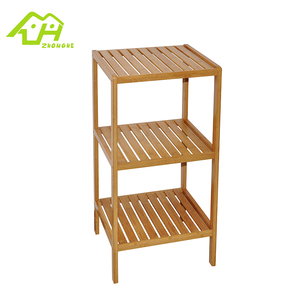 Classic small space floor wooden 3-tier bamboo storage