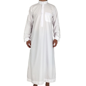 New Fashion Long White Dubai Islamic Arabic Muslim Men Daffah Thobe Abaya Kaftan