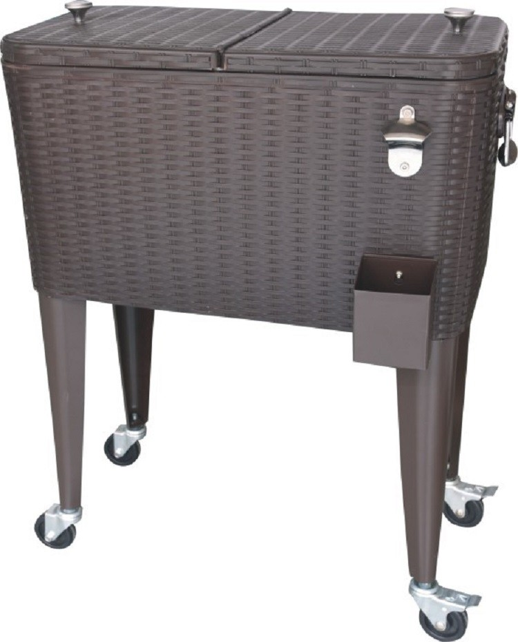 Rattan Rolling Patio Cooler Cart/Ice Chest/Hand Push Beverage Cart