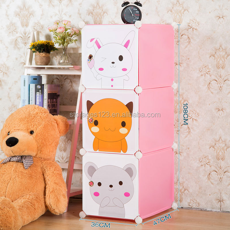 high quality colorful printing diy plastic storage cube with cartoon door for childs