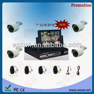 Hot Sell !! CCTV System 7''inch lcd monitor cctv 4-channel dvr kit