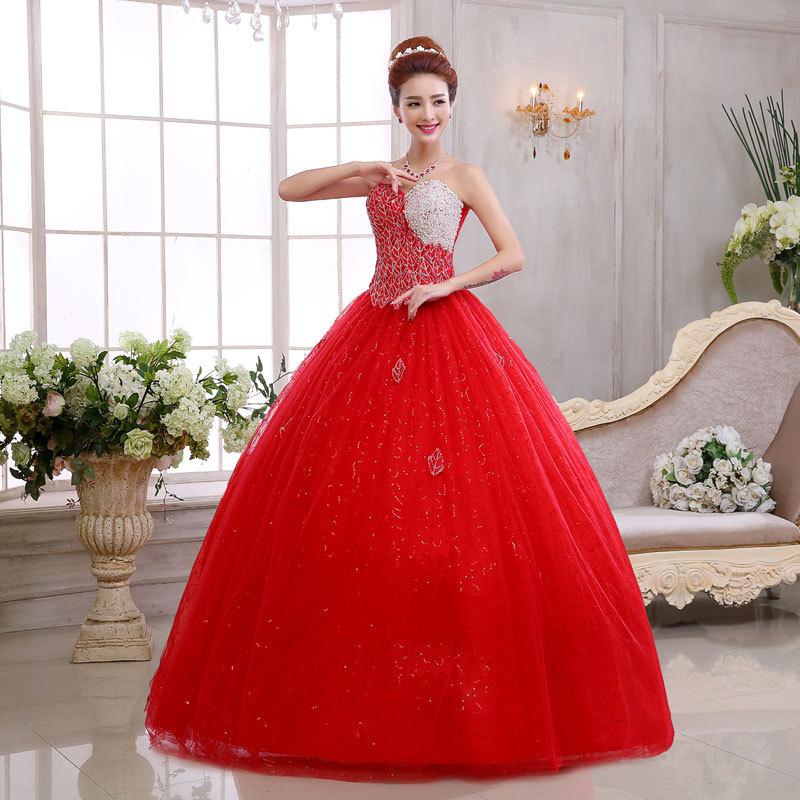 blanco y rojo vestido de novia/breve rojo sin tirantes puffy vestido
