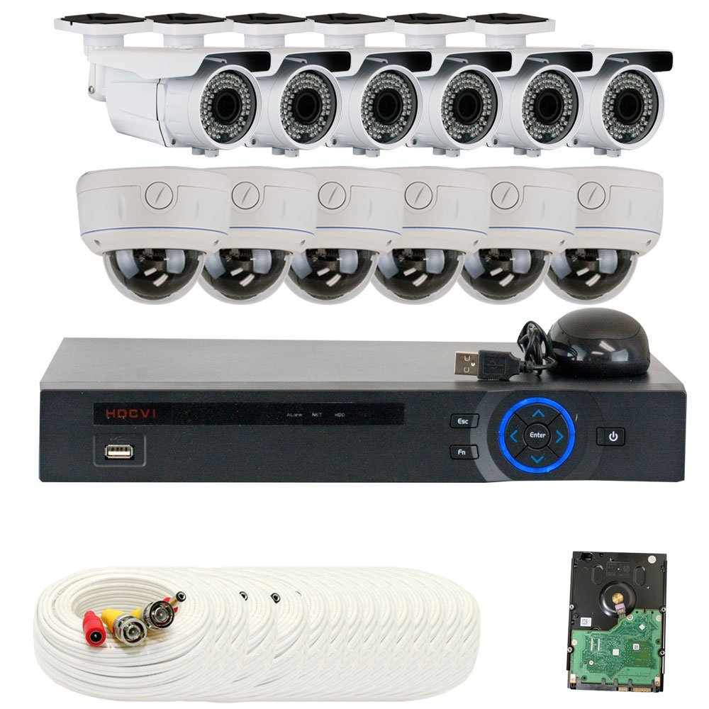 """Professional 16 Channel HD-CVI DVR Security Camera System with 12 x 1/2.8"""" 2.0 Mega pixels HDCVI SONY CMOS CCTV Security Camera, 2.8~12mm Manual Varifocal Lens. One is 72PCS Infrared LED, 164 feet IR distance and one is 30PCS Infrared LED, 65 feet IR distance. 1080p real time preview, 720P realtime"""