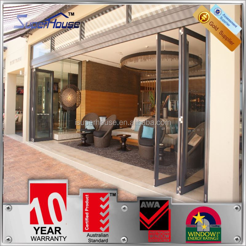 European style water proof energy saving aluminum accordion bi-folding door with grill
