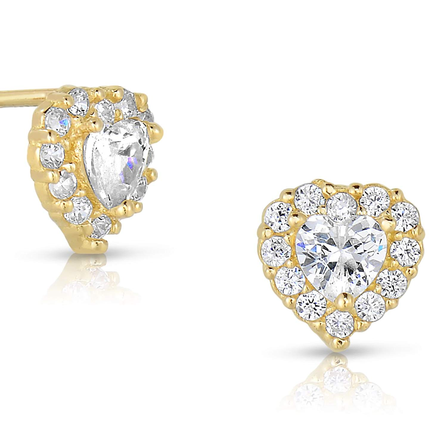 9daf5bfe8 Get Quotations · Tiny 14k Yellow Gold Heart Stud Earrings in Cubic Zirconia  CZ with Screw Backs