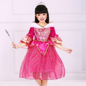 Sleeping Beauty Cosplay Ruffle Party Dress baby girl birthday dress Chidren Clothes SMR004