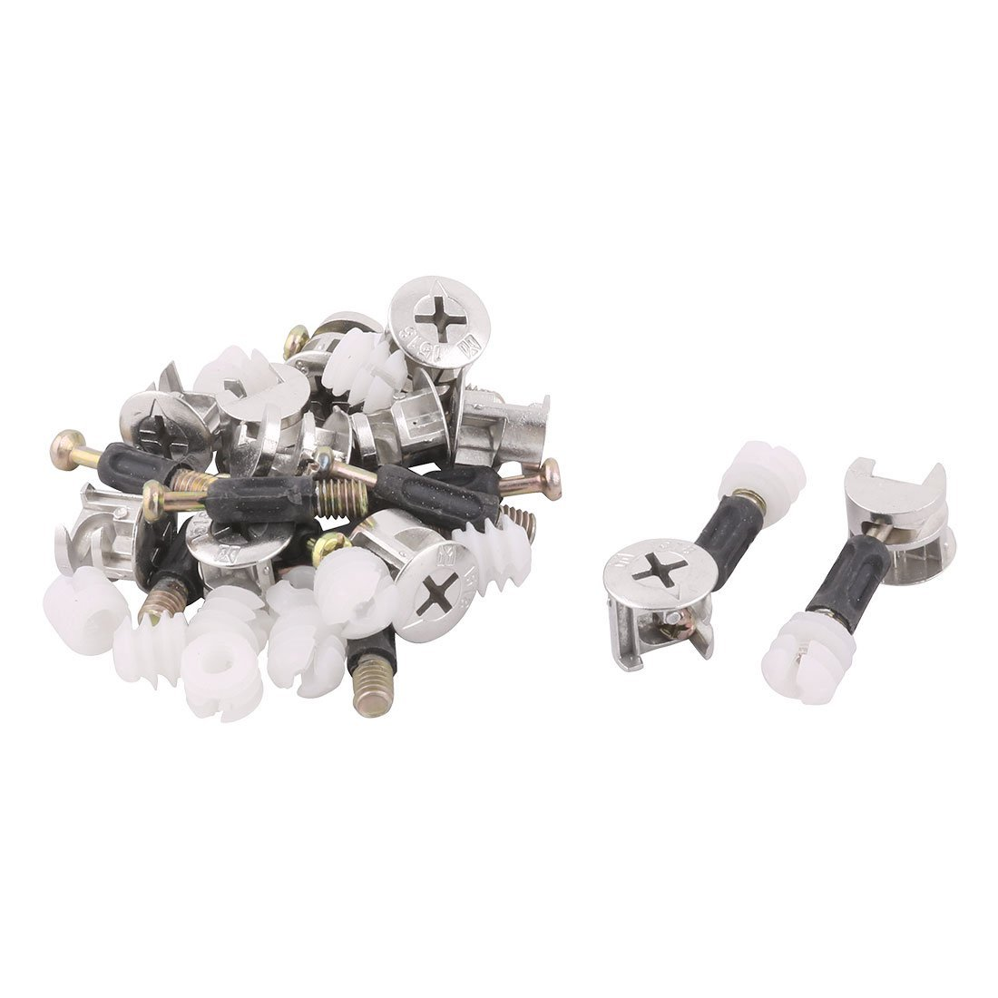 uxcell Metal Office Furniture Wardrobe Cam Lock Connecting Fitting Dowel Nut 12 Sets