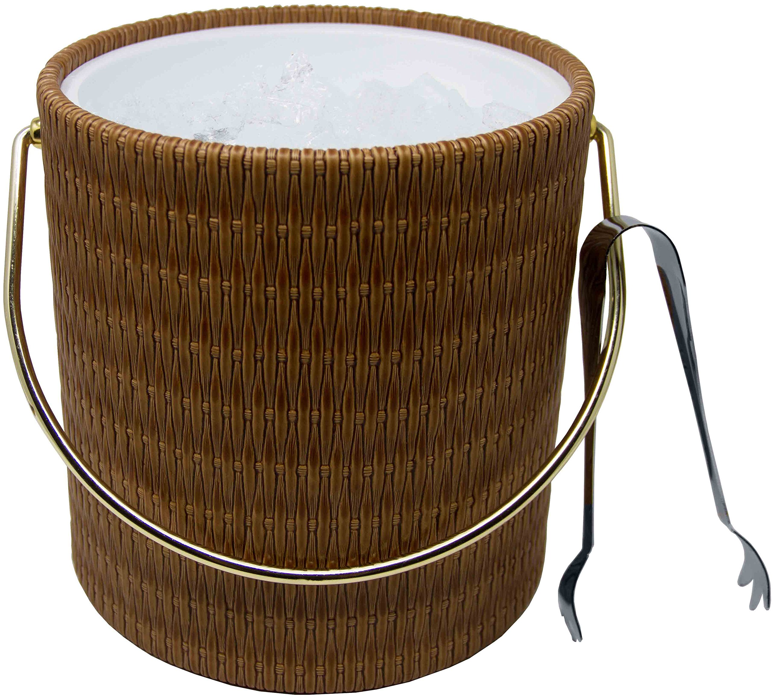 Hand Made In USA Double Walled 3-Quart Peanut Wicker Insulated Ice Bucket With Bonus Ice Tongs