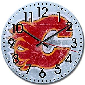 Reliable Quiet Arabic Numbers Round Wall Clock Frameless Calgary Flames 10 Inch / 25 cm Diameter