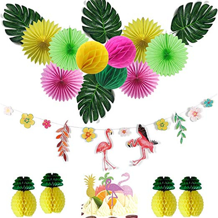 Flamingo Pineapple Birthday Party Tropical Hawaiian Luau Party Backdrop Hanging Decorations All In One Pack 19 Pieces Buy Flamingo Party