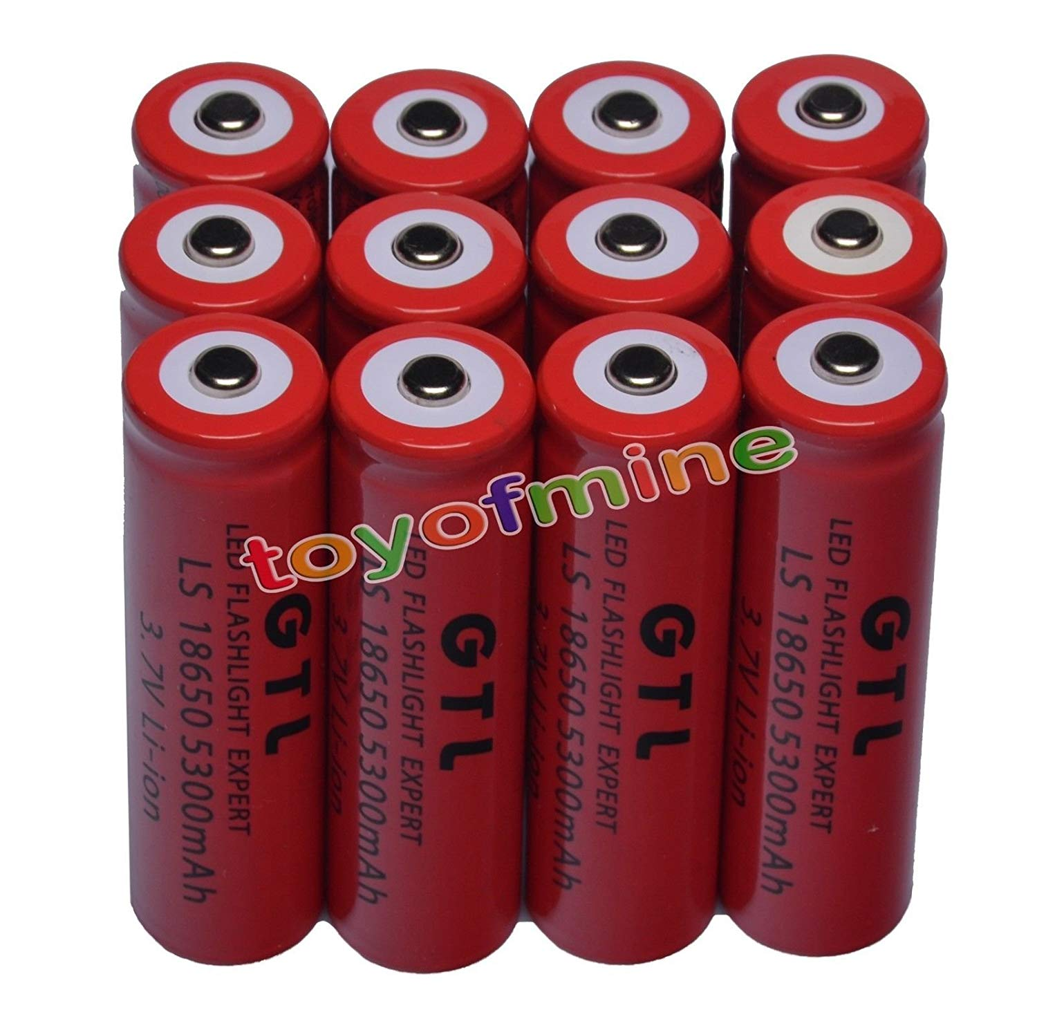 12x 3.7V 18650 GTL Li-ion 5300mAh Red IncShop Rechargeable Battery for LED Torch USA