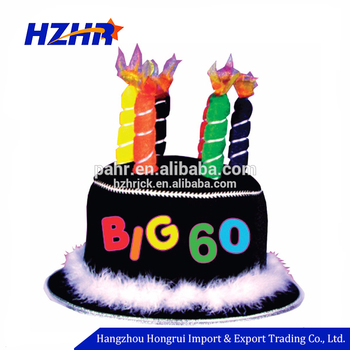 3D Birthday Cake Caps Embroidery Big 60 Wonderful Black Happy Hat With 6 Candles